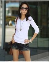100% хлопок с вязаный с V-образным вырезом длинный рукав женщины в дамский сплошной цвет базовые т - рубашки дна рубашки топы