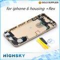 Сплав металла крышка батарейного отсека задняя крышка для iphone 6 жилья случае с flex + боковые клавиши запасные части 10 шт./лот бесплатная доставка