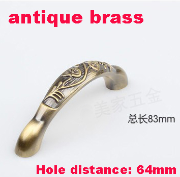 Length 82mm Hole Pitch  64mm Antique brass color Zinc Alloy Kitchen Furniture cabinet Handle antique bedroom drawer handle length 115mm hole pitch 96mm zinc alloy handle drawer handle antique furniture handle cabinet handle ivory white color
