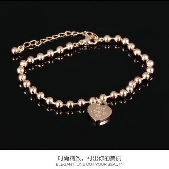 FOREVER LOVE 520 Cute Strand Ball Heart Carved Anklet Bracelet Foot