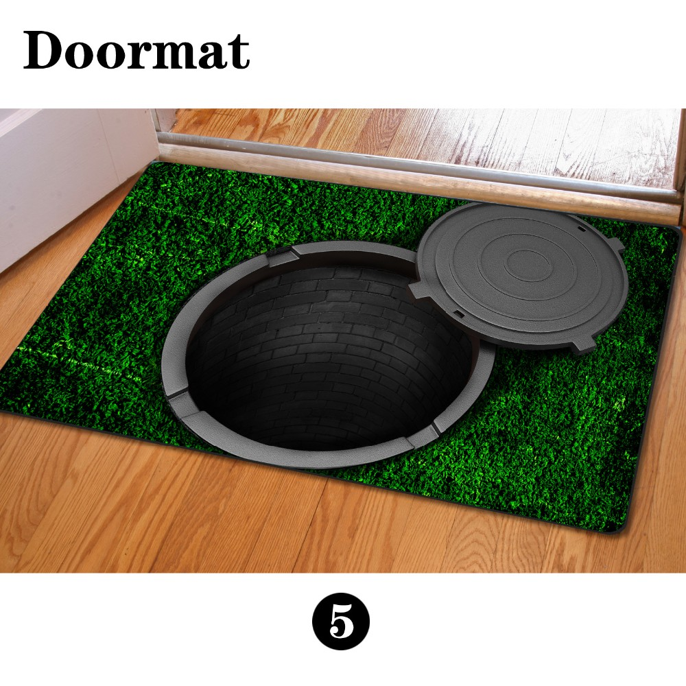 Floor mats and rugs - 3d Trap Doormat Rubber Entrance Pond Door Mat Printed Carpet Rug For Door Kitchen Kids Room Floor Mats Rugs 40 60cm Rubber Mat