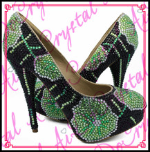 Aidocrystal handmade green crystal party high heel ladies matching shoes and bags for wedding