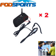 Fodsports Brand 2 pcs 2016 Newest Version V6 Bluetooth Intercom with Earhook Earphone Suit for Football Referee Judge Biker