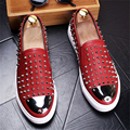 2017 New men fashion round shoe leather rivet foot hair stylist Nightclub Men's Flat shoes Loafers Casual Shoes US size 8.5