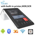 Computadora de mano móvil android pos terminal inalámbrico 1d barcode scanner NFC / tarjeta / banco lector TS-7002 con incorporado de la impresora térmica