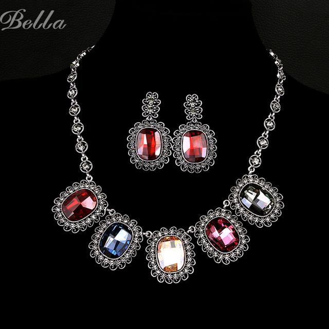 Oro verdadero plateó la joyería africana fija dubai mujeres nupciales de la boda collar y aretes de cristal austriaco de moda (JS0004)