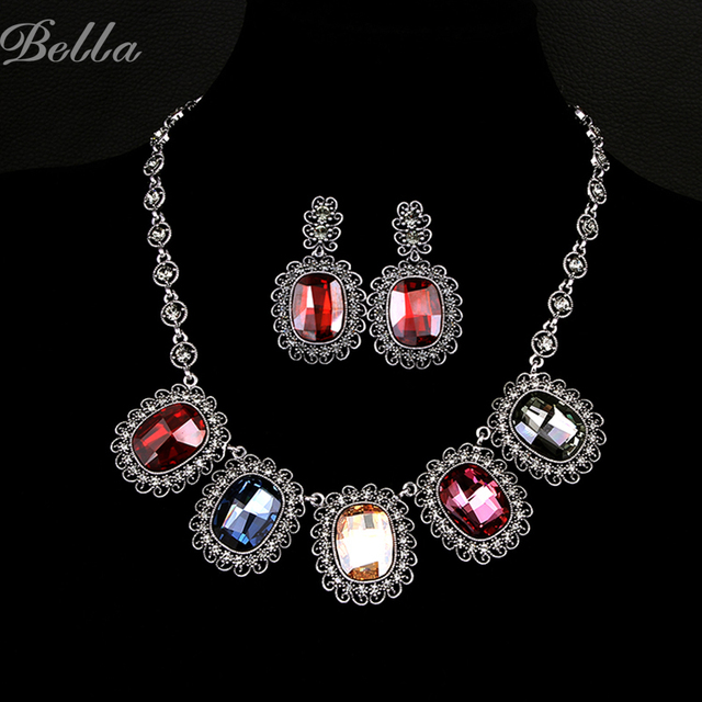 real gold plated jewelry sets african dubai bridal women wedding necklace and earring set fashion austrian crystal  (JS0004)