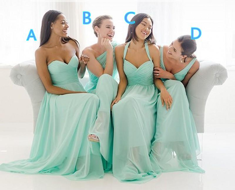 Graceful mint green bridesmaid dresses 2017 summer chiffon formal graceful mint green bridesmaid dresses 2017 summer chiffon formal wedding party dresses sleeveless pleats maid of honor dresses in bridesmaid dresses from ombrellifo Image collections