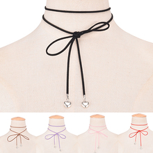 Женщины Корейский Стиль Sweet Love Сердце Подвески Self-галстук-бабочку Choker Necklace