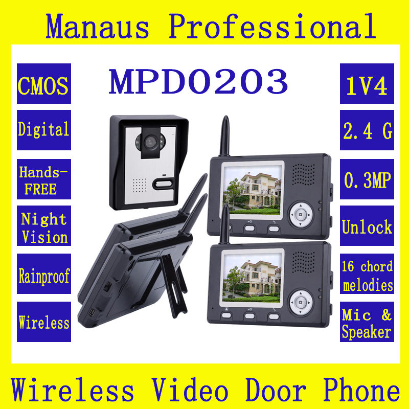 Wireless Video Intercom System Color Video Doorphones Four 3.5 Inch Display Screens&One Outdoor Waterproof Security Camera D203b