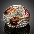 Jenia Fashion Red Oil Painting and Enamel Ring Gold Plated Rhinestone Jewelry for Women XR043