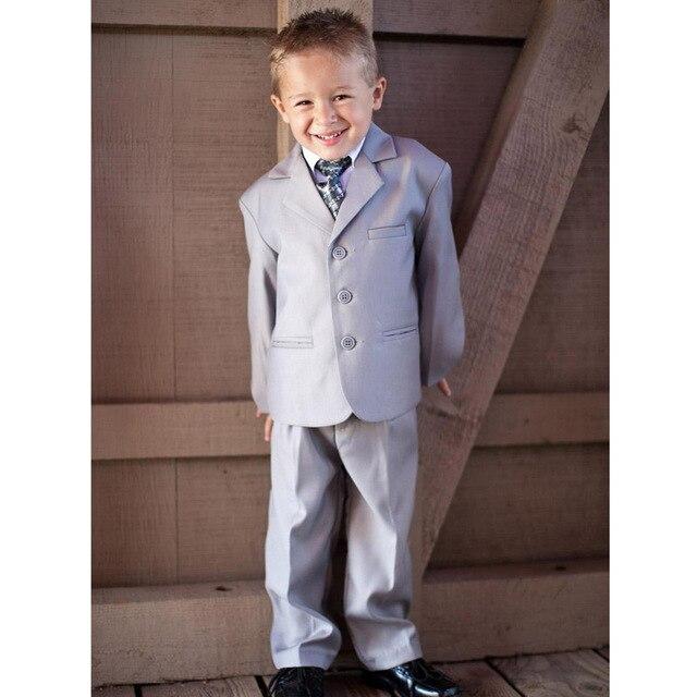 Красивый серый мальчик свадебные костюмы мальчиков наряд 3 шт. на заказ мальчик смокинги ( куртка + брюки + жилет )