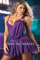 бесплатная доставка! увлекательный фиолетовый темной перевязь Клубная одежда сексуальное раффлед платье новые леди snightwear оптовая продажа в розницу 8788