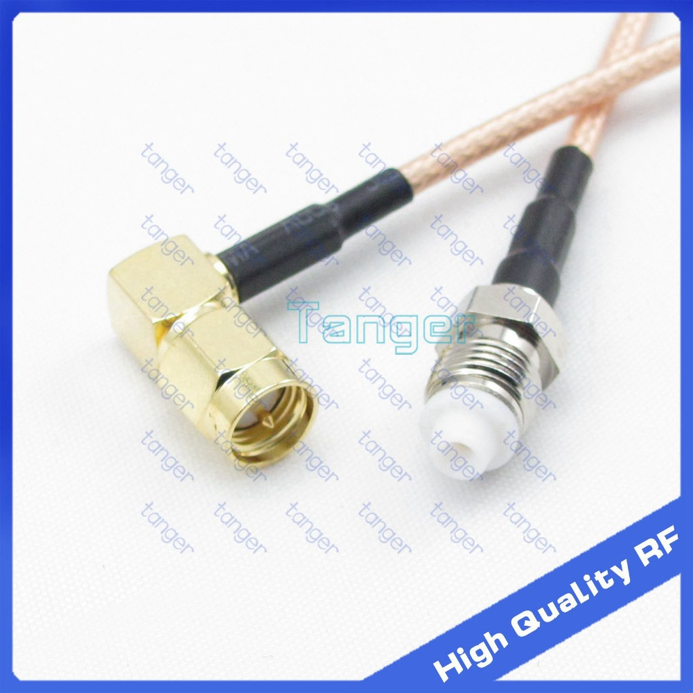 """6inch FME female to SMA male plug right angle with RG-316 RF Coaxial Pigtail Jumper cable 6"""" 15cm Tanger High Quality RF cables"""