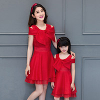 2019 mom and daughter dress family look girl and mother dress matching mother daughter clothes princess wedding dresses bowknot