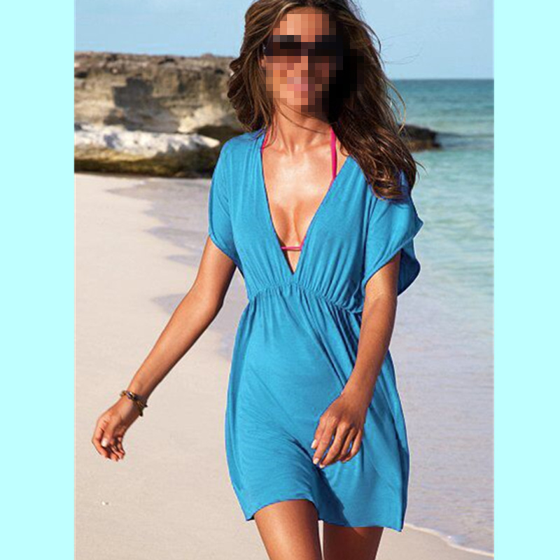 2016 blue summer chiffon dress women v-neck summer style beach dress robe femme casual elegant straight dress