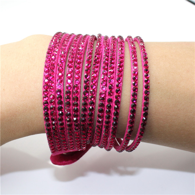 Fashion 6 Layer Wrap Bracelets Slake Leather Bracelets With Crystals Couple Jewelry womans bracelet 14