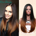 Fashion Ombre dark brown Long Straight Synthetic none Lace Front Wig Glueless TwoTone Dark Brown Heat Resistant Hair Women Wigs
