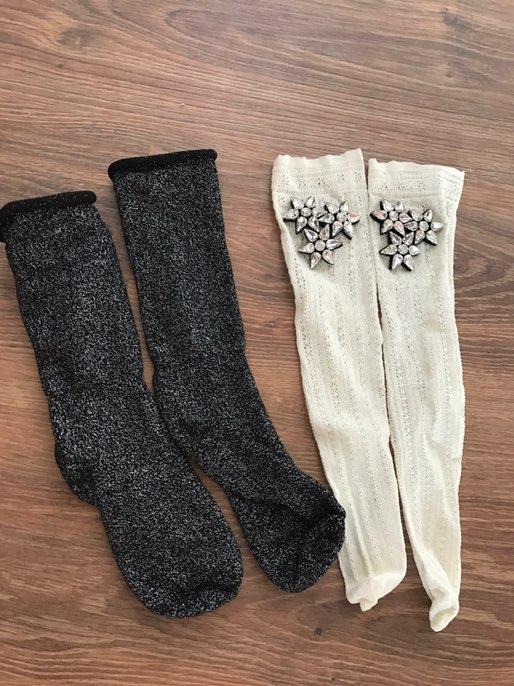 Красивые носочки с люрексом и украшениями с Алиэкспресс