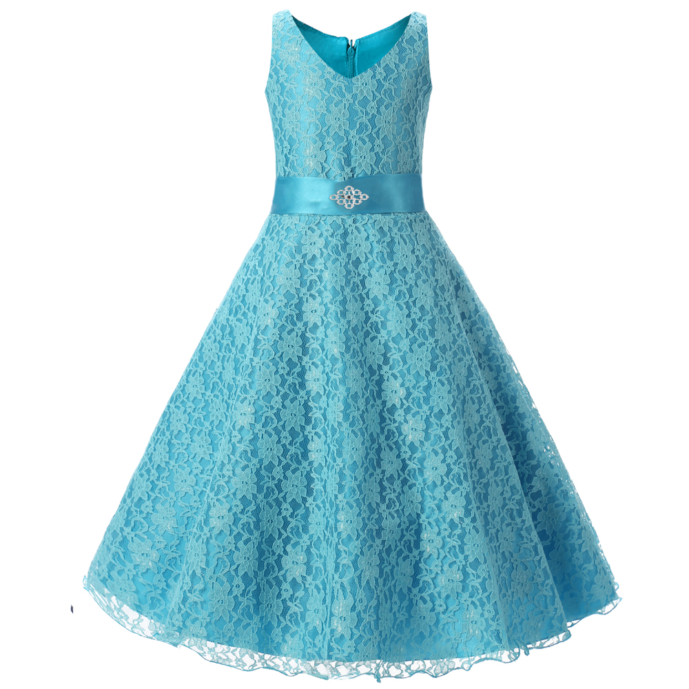 Girls party wear clothing for children summer sleeveless lace ...