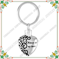 "CMK2021 316L Stainless steel Key Ring with "" always in my heart ""urn cremation Keychain with  Pendants  ashes jewelry"