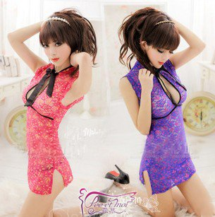 US $17 99 |Republic of the small woman retro lace cheongsam perspective  women sexy underwear sexy lace pajamas tulle cleavage-in Cheongsams from
