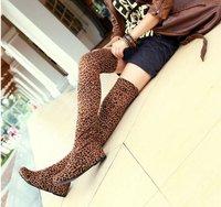 бесплатная доставка новое поступление парк наньшань мода леопарда зима плоским пятки сапоги, над коленом сапоги для женщин