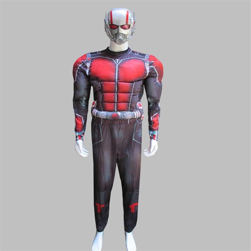 Deluxe Ant Man Muscle Cosplay Costume Men Anime Superhero Cosplay Jumpsuit  Halloween  Cosplay Bodysuit