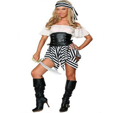 Halloween costume pirate sailor suit role-playing party cute Halloween black white costumes uniforms party