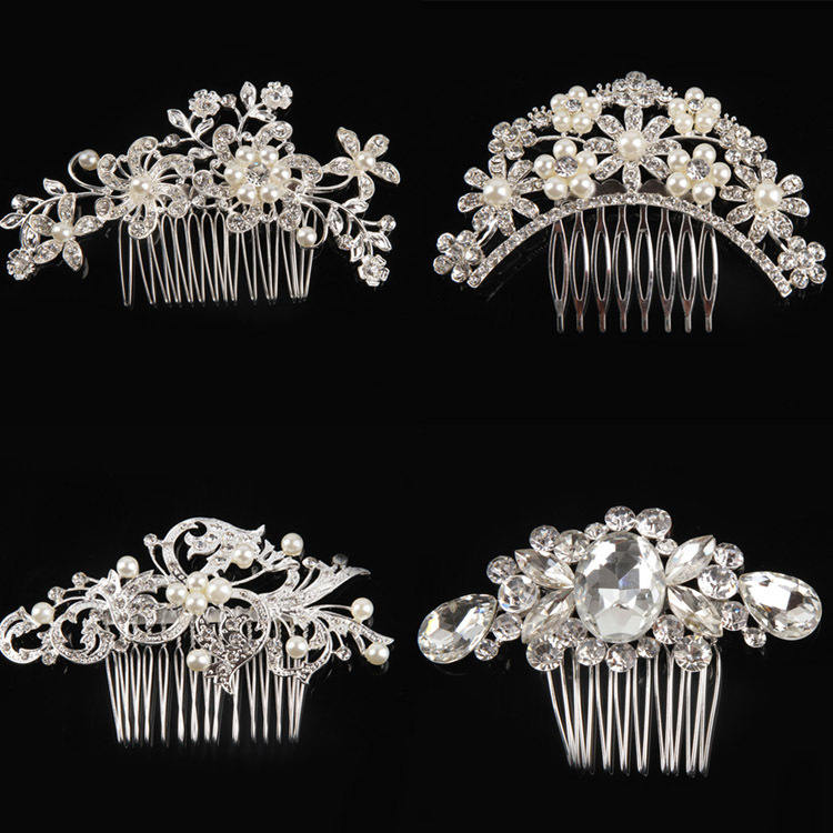 4 Kinds Of Styles Tiaras Hair Jewelry Women Flower Crystal Rhinestone Pearls Hair Clip Wedding Bridal