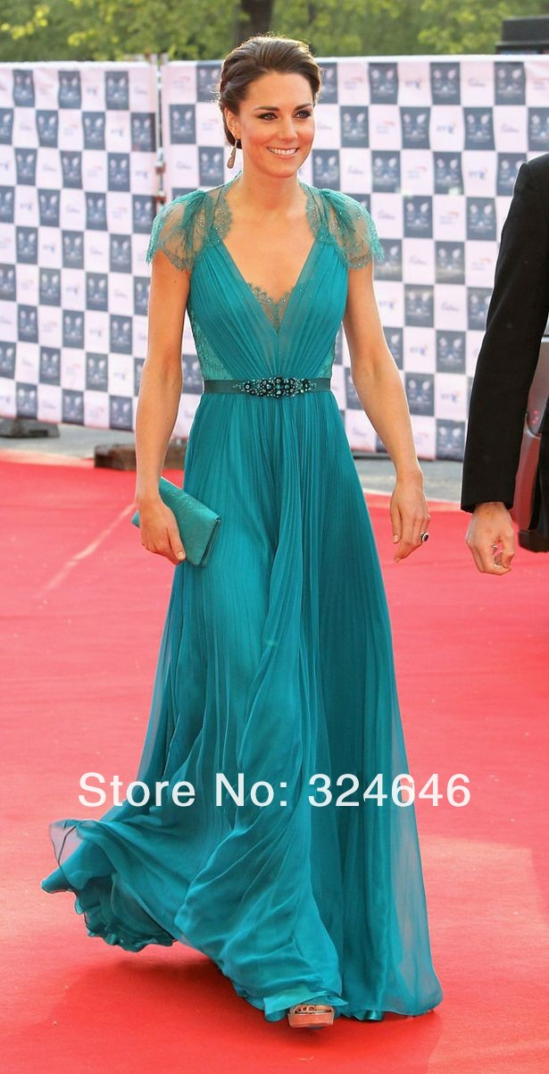 Customize V neck blue chiffon kate middleton red carpet celebrity ...