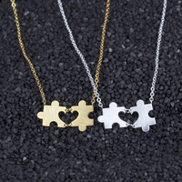 10pcs Love Heart Puzzle Pendant Necklace Valentine S Day Gifts Stainless Steel Link Chain Collar Colar