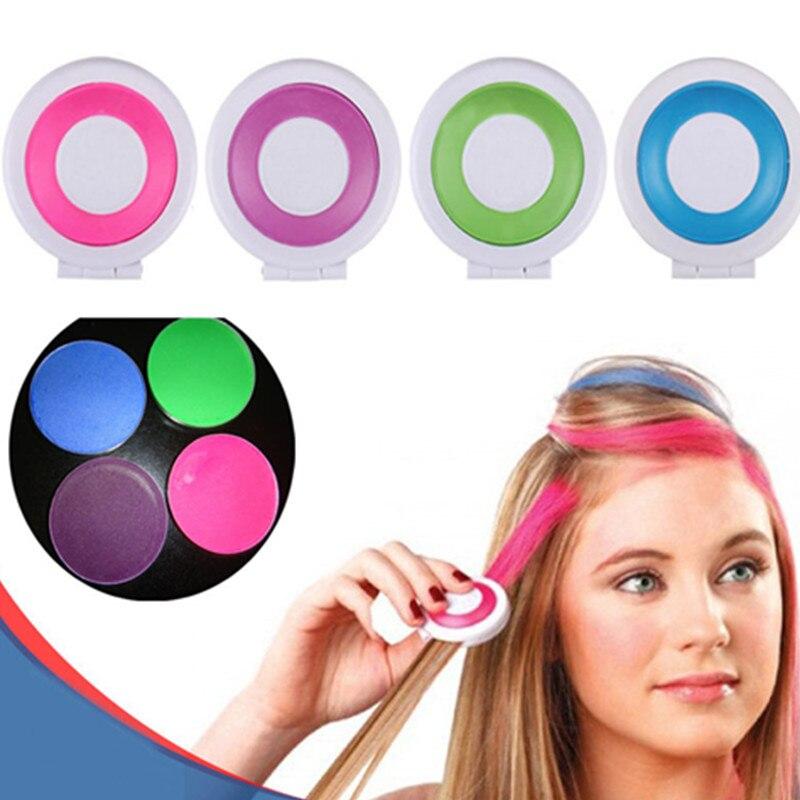 1 Set With 4 Random Colors Hair Dye Temporary Hair Chalk Powder