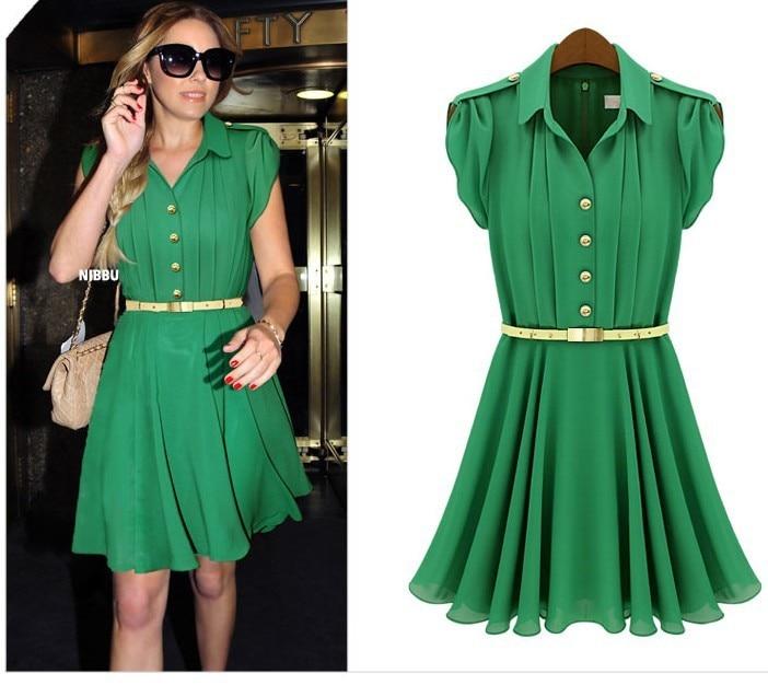 Free Shipping Cute Brief Fashion Short Summer Womens Dress Green