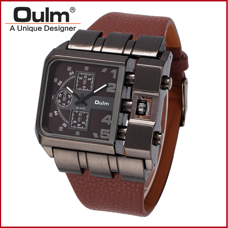 4811c5b26bd Homens da forma do Relógio OULM Sports Watch Múltipla Fuso Horário Relógio  Masculino Único Projetado Novo Com Etiquetas Estilo Casual Relógio De  Quartzo em ...