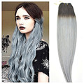 Full Shine 1B to Silver Gray Ombre Two Tone Brazilian Weave Hair Extensions Brazilian Human Hair Sew in Weave Extensions 100g