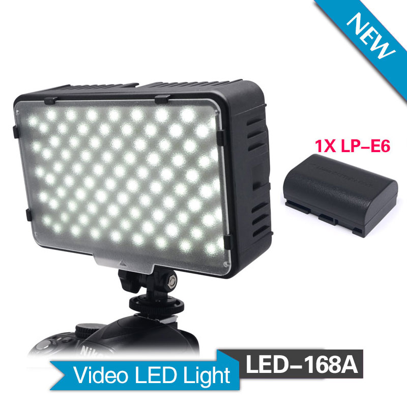 ff402f4a8747 Mcoplus 168A LED con 1 unids LP-E6 batería para videocámaras y cámaras  digitales SLR