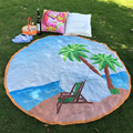 2016 New Summer Large coconut tree and sunshine Printed Round Beach Pool Home Shower Towel Circle Beach Towel Serviette De Plage