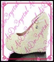Aidocrystal mode Frauen Weiß Perlen Plattform Pumpe High Heels Ankle Riemen Keil abendgesellschaft Schuhe