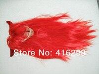 бесплатная доставка хэллоуин / ну вечеринку взрослых косплей полный парик ярко-красный дьявол парики с головной убор рога прямые волосы