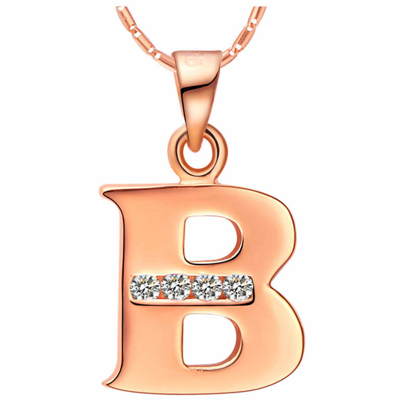 Letter Collares สำหรับผู้หญิง Rose Gold สีจี้สร้อยคอ A B C D E F G H I J K L M N O P Q R S T U V W X Y Z N958