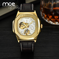 MCE Casual fashion skeleton military clock leather men casual automatic mechanical self wind wrist dress luxury Antique watch