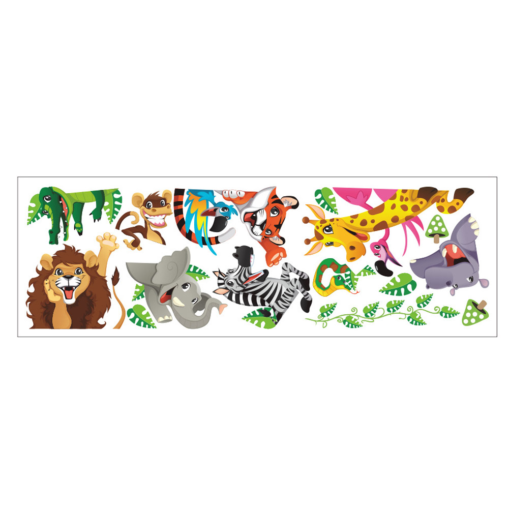 Cartoon tiger lion dinosaur wall stickers door cabinet for Sticker deco