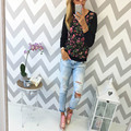 La Moda de invierno flor de Durazno Rosa de Impresión T-shirt