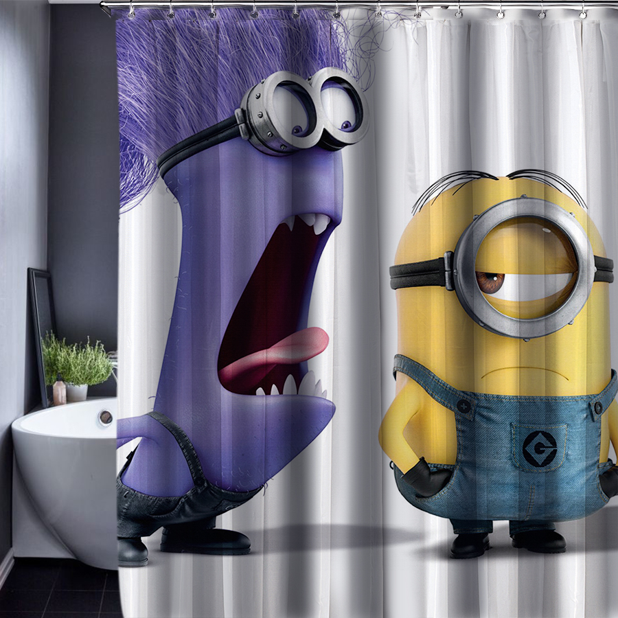2016 Minions Shower Curtain Waterproof Fabric 180x180cm Bathroom Customized Shower Curtains with Hooks