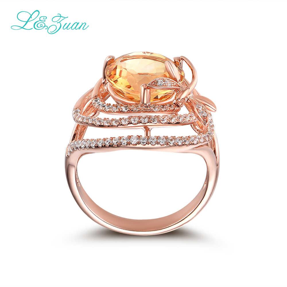 L & zuanธรรมชาติซิทรินสีเหลืองหินตั้งอินเทรนด์เครื่องประดับเงินสเตอร์ลิงแหวนสำหรับผู้หญิง925แหวนเงิน3477