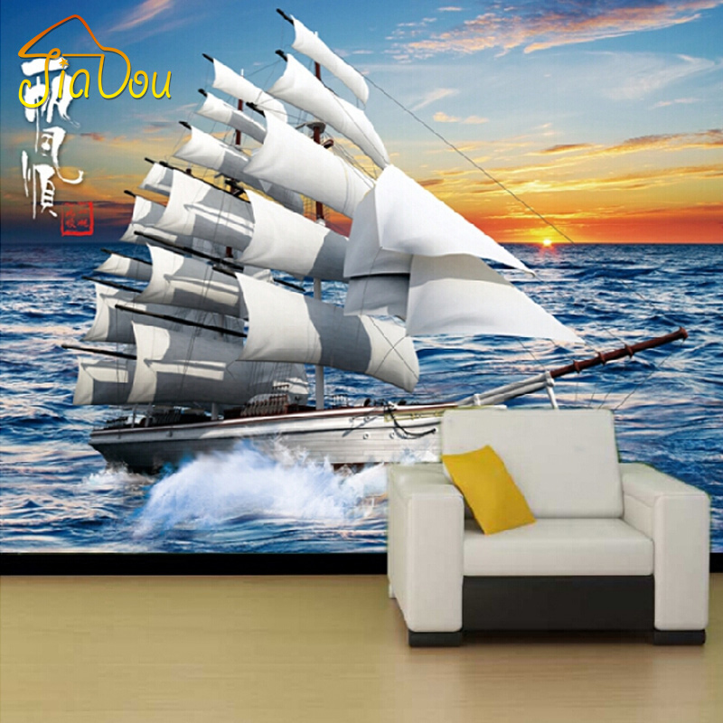 Customized Large Mural 3D Sailing Yacht Photo Wallpaper Non-woven Bedroom Living Room Sofa TV Background Wallpaper Wall Covering beibehang customize universe star large mural bedroom living room tv background wallpaper minimalist 3d sky ceiling wallpaper