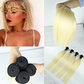 Free Shipping Ombre Malaysian Virgin Hair Silky Straight 1B/Blonde 613 Ombre Human Hair Weave 613 Ombre Hair Extensions
