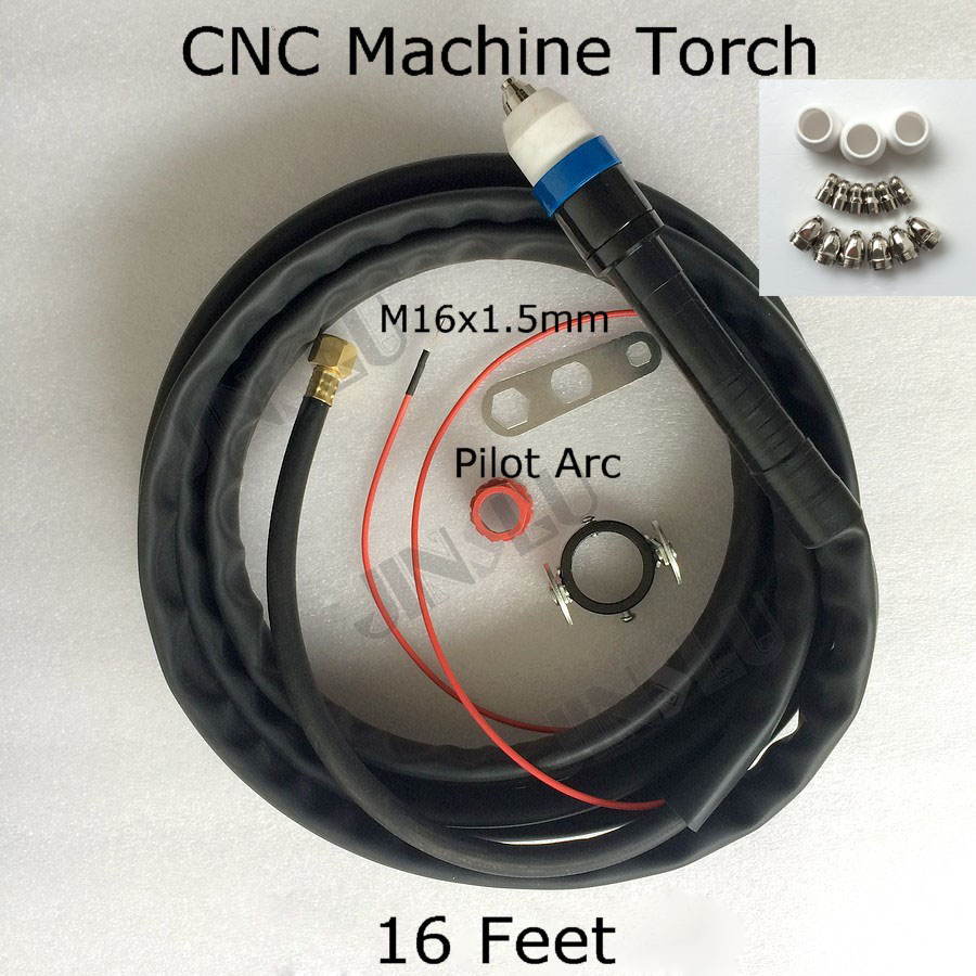 CNC Auto Cutting Machine Plasma Torch P-80 P80 straight torch complete 16 Feet With free electrode tip shield cup cnc auto cutting machine plasma torch p 80 p80 straight head body pilot arc for plasma torch consumables
