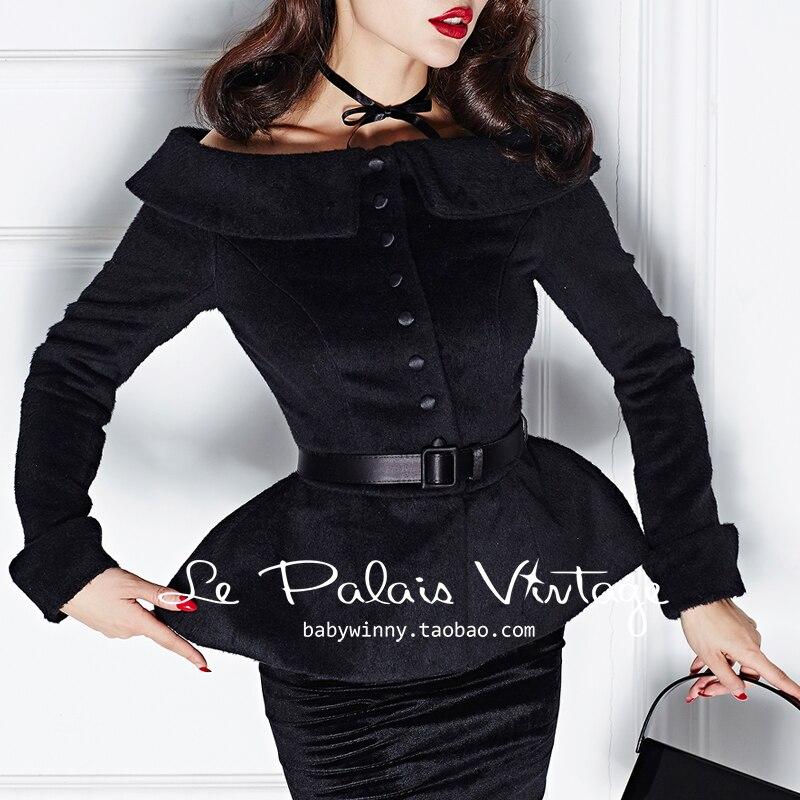 Cou Plus À Veste up La Femmes Longues Femme Peplum le 40 Bateau Black Laine Pin Manteau Noir Manches Taille 50's Palais Manteaux Cru w0nfqT8